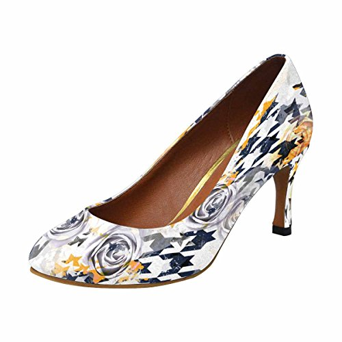 High Pump Heel Houndstooth (InterestPrint Women's Classic Fashion High Heel Dress Pump Shoes Abstract Pattern Houndstooth Design 7 B(M) US)