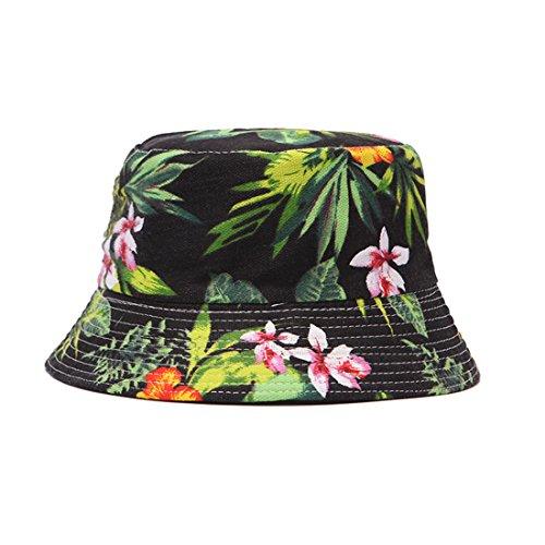 LADYBRO Fashionable Bucket Hat Unisex Summer Cotton Sun Hat Unique Pattern Canvas Hat,Leaf/Black,58cm ()