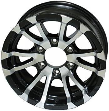 Avalanche V-Spoke//Black 2-Pack Aluminum Trailer Rims Wheels 6 Lug 15 in
