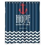 nautical shower curtain hooks - Navy Chevron  Hope Anchor The Soul Waterproof Bathroom Fabric Shower Curtain 66x72 inches