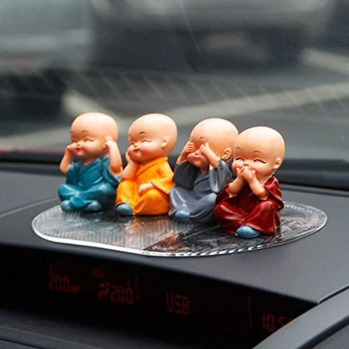 4pcs Cute KongFu Monk Car Interior Display Decoration Car Seat Ornament Car Home Decor Gift (B)
