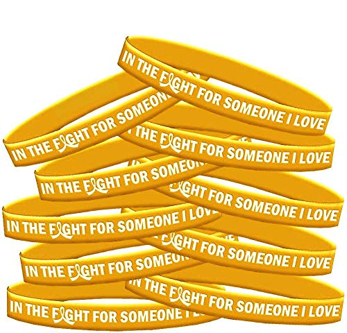 in The Fight for Someone I Love Childhood Cancer Neuroblastoma COPD Wristband Bracelet 10-Pack (Gold)