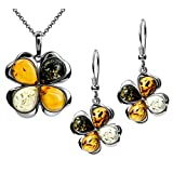 Multicolor Amber Sterling Silver Clover Earrings Pendant Necklace Set Chain 18''