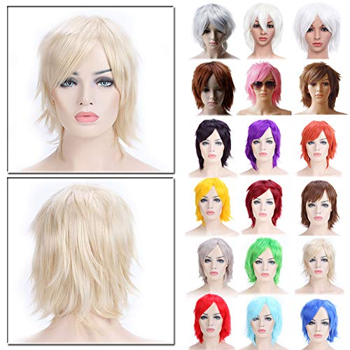 Anime Cosplay Wig Light Blonde Unisex Short Wigs with Oblique Bangs Straight Fluffy Hair with Volume Up Hair Tail Heat Resistant Synthetic Fiber