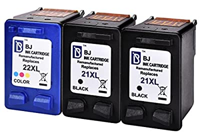 BJ Remanufactured Ink Cartridge 3 Pack for HP 21 22 (2 Black, 1 Tri-Color) C9351AN C9352AN for HP Officejet 4315 J3680 Deskjet 3915 3930 3940 D1420 D1455 D1520 D1530 D1560 D2330 D2430 D2460 PSC 1410