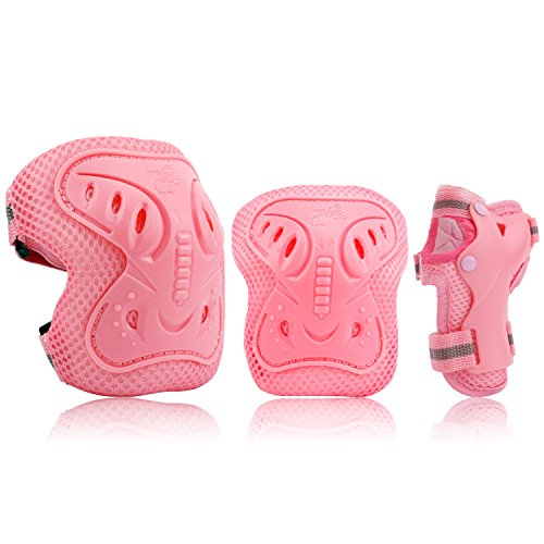 Kids Protective Gear Set, Safety Pad Safeguard Support Pad for Knee, Elbow Pads and Wrist Guards for Rollerblading, Skating, Volleyball, Basketball, BMX(One Size, Pink)