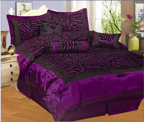 NEW 7PC FAUX SILK FLOCKING PURPLE BLACK ZEBRA PRINT QUEEN SIZE COMFORTER -