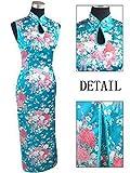 Thytas White Women's Rayou Long Halter Cheongsam Qipao Chinese Tradition Evening Dress Flower Blue XL
