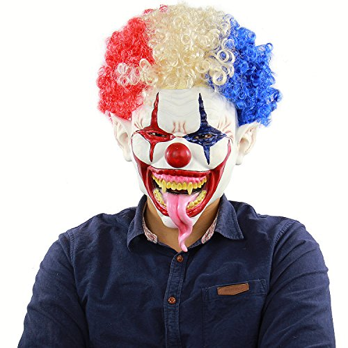 Yi Dai Si Scary Clown Mask Colorful Explosion Mask Hair Clown Snake Tongue Evil