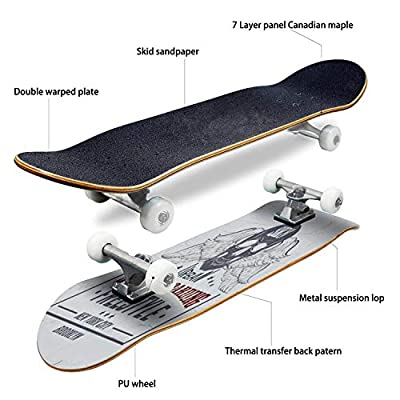 Classic Concave Skateboard Quote typographical Background About Skateboard with Grunge Vintage Longboard Maple Deck Extreme Sports and Outdoors Double Kick Trick for Beginners and Professionals : Sports & Outdoors