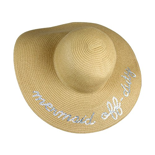 UPF 50+ Large Straw Floppy Sun Hat- Weaved Tweed Crushable Wide Brim Beach Cap with Sequin Quote 'Mermaid Off-Duty' (Natural)