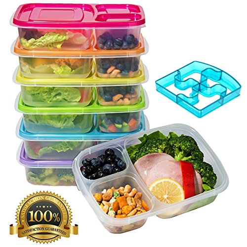Meal Prep Containers 3-Compartment Lunch Bento Boxes Food Storage Containers with Lids,BPA Free Plastic Set of 6,Portion Control Divided Cover - Reusable, Microwave Dishwasher Freezer Safe by smartYOU
