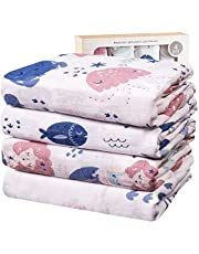 Viviland Baby Mousseline Inbakerdek voor Pasgeboren Jongens, Meisjes, Unisex | 70% Bamboe 30% Katoen Swaddle Deken met Geschenkdoos | 4 Verpakkingen, 120 x 120 cm