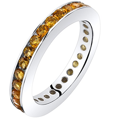 Citrine Eternity Band Ring Sterling Silver 1.00 Carats Size 7