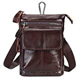 Efanr Men Small Crossbody Phone Purse Fashion Leather Waist Belt Bag Mini Travel Bag Compatible with 7 inch Mobile Phone