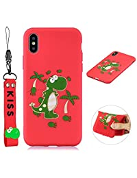 Cute Cool Phone Case for iPhone X/Xs, SKYXD Dinosaur Cartoon Animal Silicone Soft Thin TPU Bumper Protective Case with Lovely Hand Wrist Strap Bracelet + Glass Screen Protector Cover