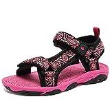 CIOR Fantiny Kids Athletic Sandals Boy Girls' Two-Straps Open Toe Outdoor Beach Sports Sandals (Little Kid/Big Kid) SAC101 Rose 32