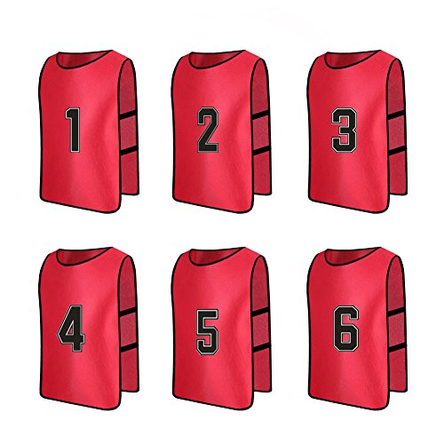 Senston Numbered Training Vests Adult Scrimmage Team Practice Vests Pinnies Sports Bibs(6-pack) (Large)