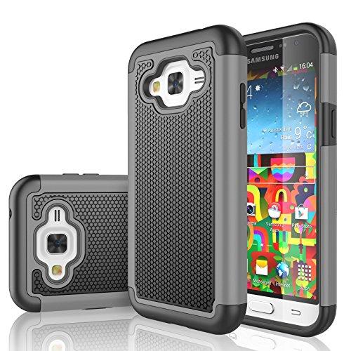 Galaxy Sky Case, J3 /J3 V Case, Galaxy Sol Case, Tekcoo [Tmajor Series] [Gray] Shock Absorbing Hybrid Rubber Plastic Defender Rugged Hard Case Cover for Samsung Galaxy Amp Prime/Express Prime
