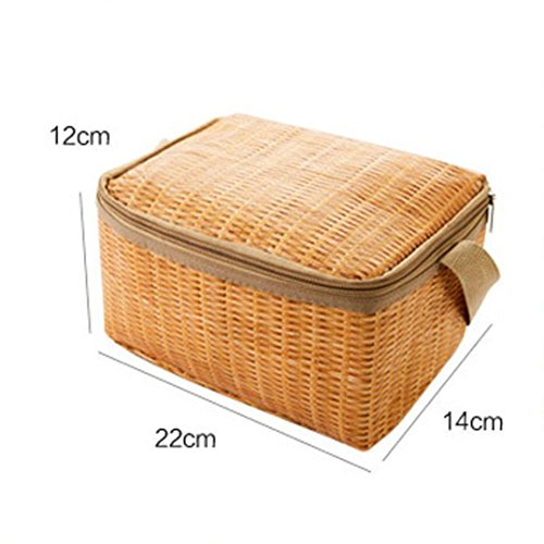 (Clearance! Retro Lunch Bags, Portable Insulated Thermal Cooler Lunch Box Tote Storage Bag Picnic Container (Khaki, L))