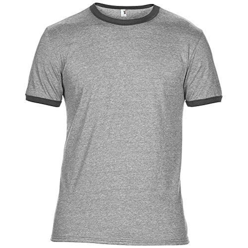 Anvil Mens Plain Lightweight Ringer T-Shirt (M) (Heather Grey/Heather Dark Grey) ()