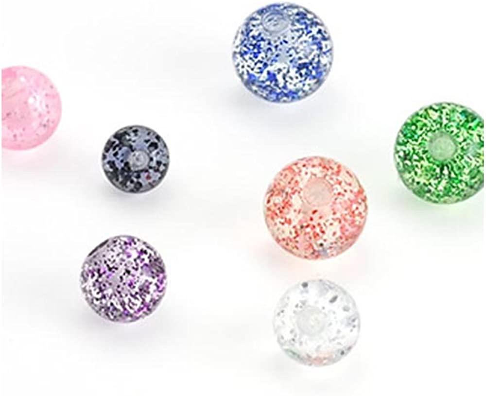 16GA West Coast Jewelry 10 Piece Pack of Super Glitter UV Acrylic Replacement Ball 4mm Ball