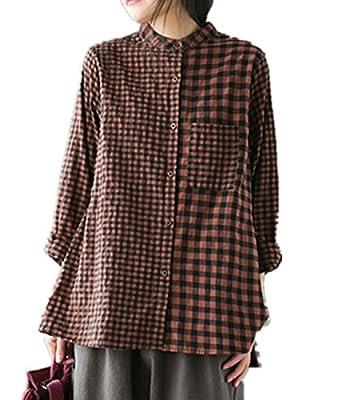 YESNO E63 Women Casual Loose Plaid Blouse Button-Down Shirts 'A' Skirt Long Sleeve Pocket
