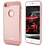 iPhone 7 Case,Veatool [Metal Series] One-piece Matte Back and TPU Bumper Cushion Cover for iPhone 7(2016)(Rose Gold)