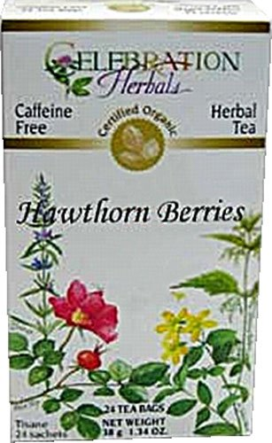 Hawthorne Berries 24 Bags (Celebration Herbals Organic Hawthorne Berries Tea Caffeine Free -- 24 Herbal Tea Bags - 2PC)