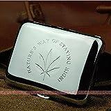 Marijuana Weed Leaf Premium Stainless Steel Engraved Cigarette Case