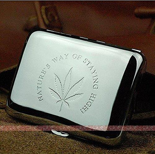Marijuana Weed Leaf Premium Stainless Steel Engraved Cigarette Case by Weed Lovers