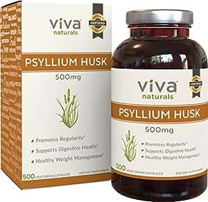 Viva Naturals Organic Psyllium Husk, 500mg, 500 Vegetarian Capsules - The BEST Fiber Supplement for Optimal Intestinal Health