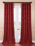 HPD HALF PRICE DRAPES Half Price Drapes JQCH-201268-84 Astoria Faux Silk Jacquard Curtain, Red & Bronze, 50 x 84