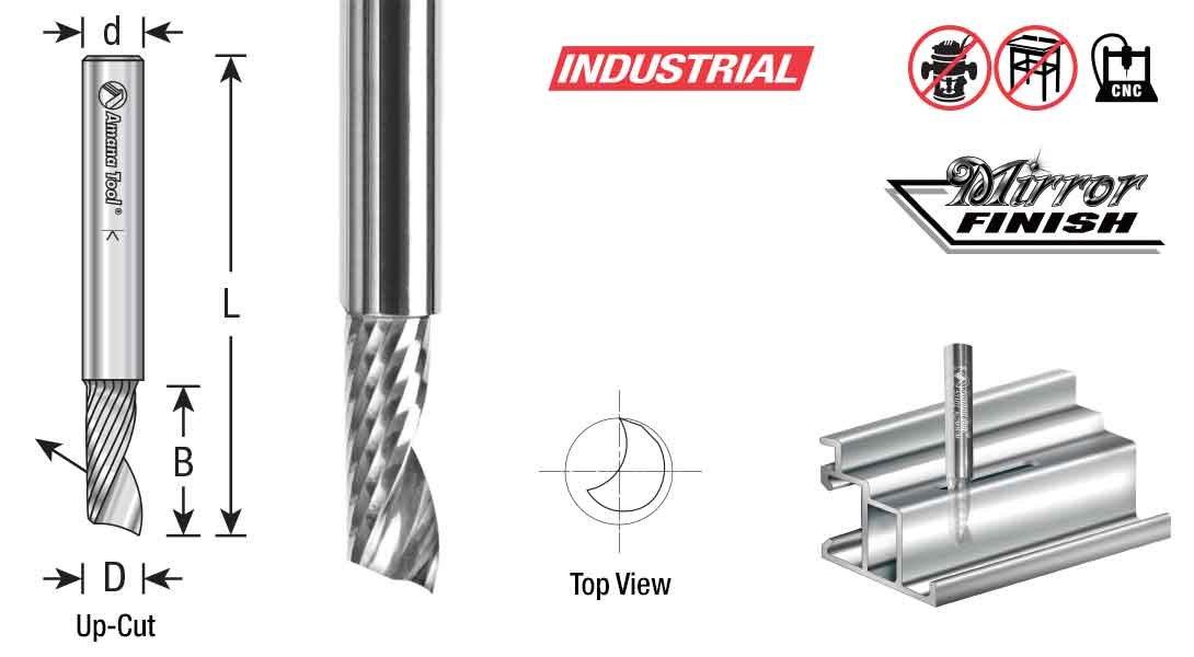 51478 Solid Carbide CNC Spiral O Single Flute Amana Tool Aluminum Cutting 3//16 Dia x