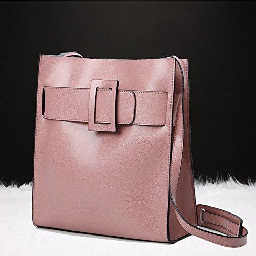 Crossbody Designer Clutch Black Leather Shoulder Women 1 Multifunctional Bag Big Bag Ladies X Retro Pink Wax Handbag For R7wfzqB