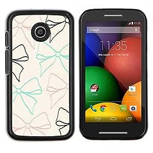 Dragon Case - FOR Motorola Moto E (1st Gen, 2014) - bow tie beige teal brown black pattern - Caja protectora de pl??stico duro de la cubierta Dise?¡Ào Slim Fit
