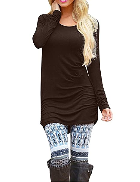 f644e643542 Sherosa Womens Basic Casual Long Sleeve Slim Fit T Shirt Dress Tunic Top (S