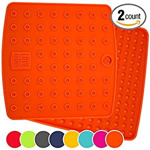 "Premium Silicone Trivet Mats / Hot Pads, Pot Holders, Spoon Rest, Jar Opener & Coasters - Our 5 in 1 Kitchen Tool is Heat Resistant to 442 °F, Thick & Flexible (7"" x 7"", Fall Orange, Set of 2)"