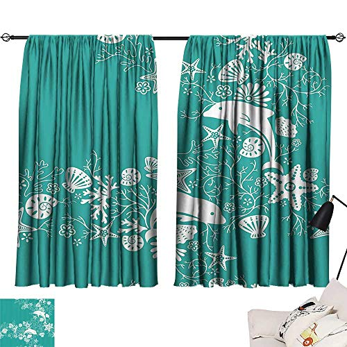 Anzhutwelve Blackout Drapes Sea Animals,Dolphins Flowers Sea Life Floral Pattern Starfish Coral Seashell Wallpaper,Sea Green White W63 x L45 Room Darkening Curtains for Boys -