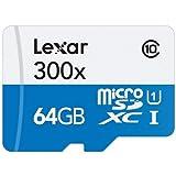 Lexar High-Performance microSDXC 300x 64GB UHS-I/U1 Flash Memory Card - LSDMI64GBBNL300