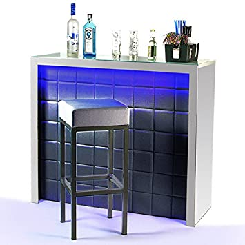 Hollywood Home Bar Counter Black With LED Colour Changing Lighting   Faux  Leather Light Up Bar: Amazon.co.uk: Kitchen U0026 Home