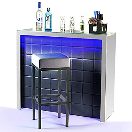 Hollywood Home Bar Counter Black with LED Colour Changing Lighting ...