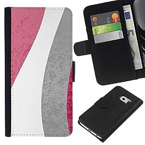 KLONGSHOP // Tirón de la caja Cartera de cuero con ranuras para tarjetas - Modelo de flores Líneas Blanco Gris Rosa - Samsung Galaxy S6 EDGE //