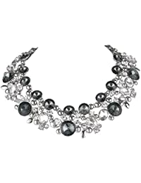 Ever Faith Austrian Crystal Black w/ Clear Statement Choker Necklace Oval