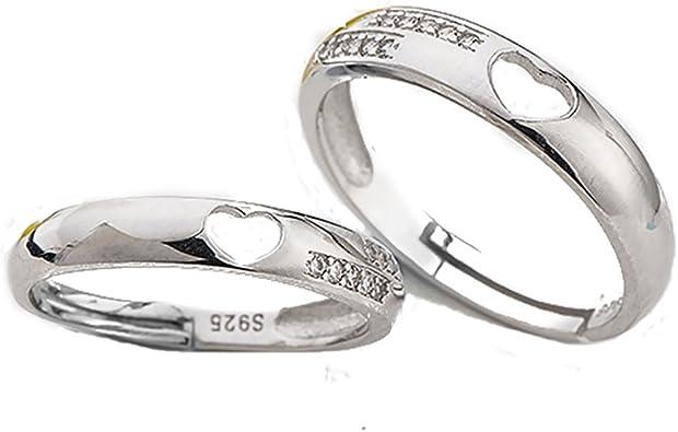 Corazón anillos de amistad y anillos de pareja de plata 925 con un circonita