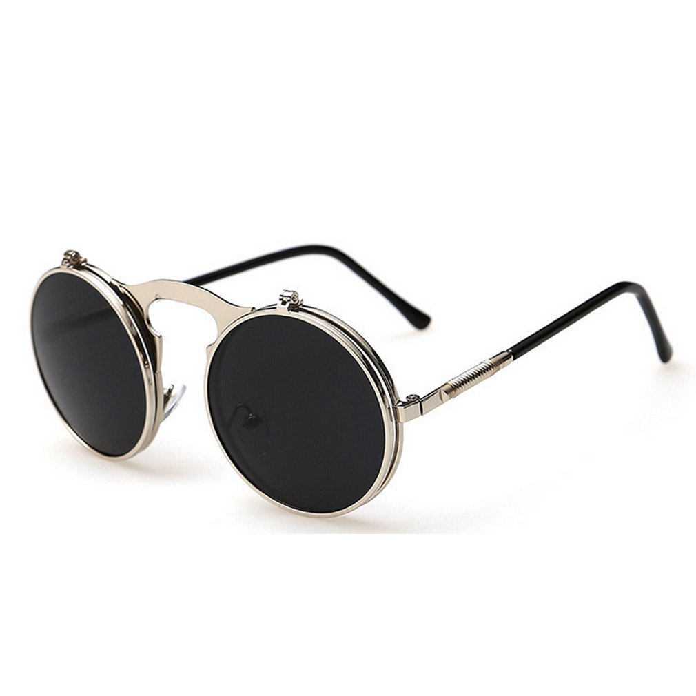 Lomol Europe And America Fashion Uv Pritection Round Flip Sunglasses C2 48 Mm 2