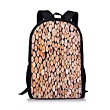 School Bags Rustic Home Decor,Mass of Wood Log Forest Tree Industry Group of Cut Lumber Circle Stack Image,Cream for Boys&Girls Mens Sport Daypack