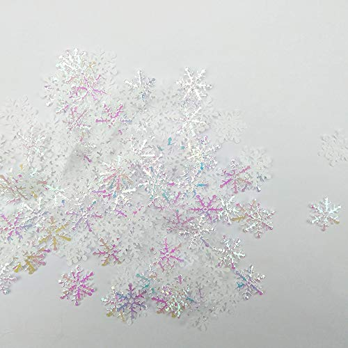 MOMOONNON 900PCS Glitter White Snowflake Confetti Christmas Table Confettis for Winter Wedding Birthday Party Holiday Supplies Decorations Favors