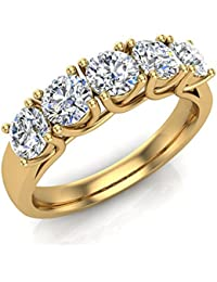 110 ct tw classic five stone diamond wedding band ring 14k gold gvs signature rare quality - Amazon Wedding Rings