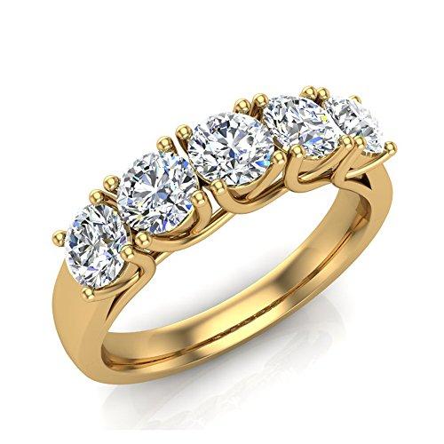 Five-Stone Wedding Band 14K Yellow Gold Classic Trellis Setting Diamond Ring 1.10 Carat Total Weight (Ring Size - 14k Setting Gold Ring